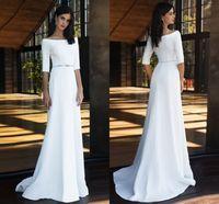 2021 Простое свадебное платье для катера шеи половина рукава бисером поясницы длина пола длинные свадебные Gowms Vestido de Novia Mairee