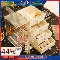 Drawer Type Plastic Storage Box Transparent Finishing Makeup Organizer Jewerly Earrings Display Stand Rack Necklace Bracelet
