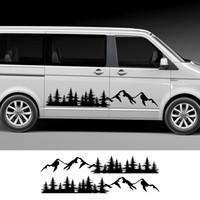 2pcs autocollants de la porte de voiture Stickers Forêt de montagne pour Volkswagen VW Multivan Transporter T5 T6 TO TOYOTA ELFA Accessoires