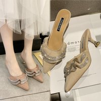 Sivri Burun Süet Topuk Yüksek topuklar Muller terlik kadınlar 2020 yaz ayakkabı kadın Moda Patchwork Sığ kristal bayan ayakkabıları X1020