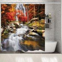 Занавески для душевых завесов Водопад Водопад в кленовых деревьях Листва Осень Цветные камни речной пейзаж пейзаж оранжевый красный зеленый