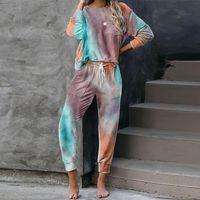 Autumn Tie Dye Pijama Set Mujeres Duerma Use ropa de dormir Set Para mujer Pijamas Salón Desgaste Durmiendo Mujeres de dormir