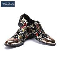 Обувь для одежды Кристиа Белла Золотой Железный Мужской Бизнес Охра Печатные Borgues Оксфорды Дышащее лето для мужчин Размер 38-47