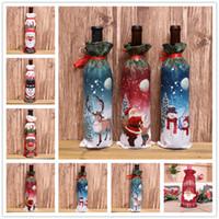 11Styles زينة عيد الميلاد للمنزل الخيش التطريز انخيل ثلج زجاجة النبيذ تغطية مجموعة هدايا عيد الميلاد حقيبة سانتا كيس