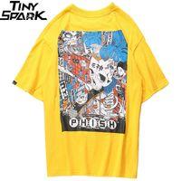 Uomini Harajuku T Shirt Cartoon Skull Assembly Linea T-Shirt Stile Giapponese Streetwear Streetwear Tshirt Oversized Tops Top Tees Cotton Y200930