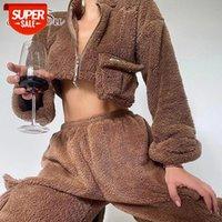 Artsu Franel Corp Tops Tops Coat Pantalones de carga Conjuntos para mujer Otoño Invierno Y2K Overloms Chaqueta Suits Sportswear Pullover Mujer SU52088 # 5y7o