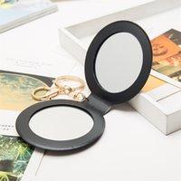 PU 작은 둥근 거울 두 얼굴 접힌 화장품 거울 레드 오렌지 그린 멀티 컬러 뷰티 액세서리 2 2HL L1