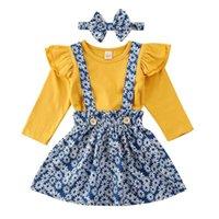 Originais Zebra Recorde meninas roupas conjuntos dourados outfits tops de manga vôo + floral Suspender saia duas peças saia set meninas