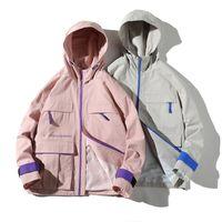 Hombres reflectantes Chaqueta Hip Hop Streetwear Chaquetas con capucha Abrigos Abrigos de Color de Pieza de Color de Primavera Sudadera con capucha