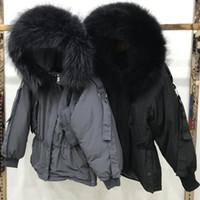 Grande verdadero mapache de piel 2020 mujeres chaqueta de invierno con capucha con capucha cálida mujer blanca pato de pato abajo mediano parkas sueltas sueltas abrigo