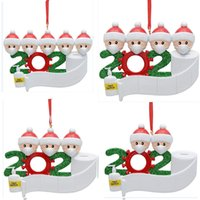 Christmas Quarantine Ornaments for Survivor Family of 2-7 Hang Decoration Snowman Pendant With Face Mask Hand Sanitizer HH9-3274