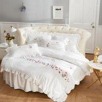 مصمم جولة ورقة السرير مجموعة التوأم الفراش مجموعة القطن السرير الكتان حاف الغطاء 240x220 مجموعات الفراش الأبيض لجولة المنتخم المنزل 1