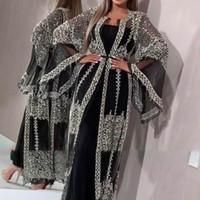 2021 Abaya Dubai Müslüman Elbise Yüksek Sınıf Sequins Nakış Dantel Ramazan Kaftan İslam Kimono Kadınlar Türk Eid Mübarek