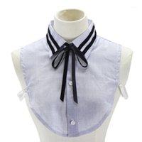 القوس العلاقات bowknotes قميص طوق وهمية النقي للنساء الأبيض الأسود التعادل خمر انفصال laple كاذبة بلوزة أعلى الزخرفية 1
