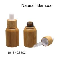 50ps lot wholesale 10 ml empty Natural Bamboo Wood Glass Dropper Bottle Refillable Bottle Free Tool 1 funnel+1 soft tube