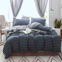Conjuntos de ropa de cama Conjunto de tela escocesa Twin Queen King Size Size Ropa de cama Dibujos animados Negro Azul Duvet Funda Linda Hoja Niños