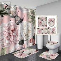 Pembe Büyük Çiçekler Baskılı Duş Perdesi Kilim Anti-kaymaz Halı Küvet Ile Set Tuvalet Ekipmanları Su Geçirmez Banyo Dekor ile Kanca 201128