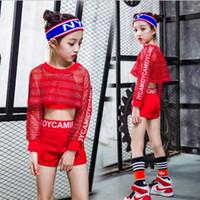 المرحلة ارتداء 3 قطع الفتيات الأحمر بارد قاعة الجاز الهيب هوب الرقص المنافسة زي تانك القمم السراويل صافي بلوزة للطفل الرقص الملابس itfits1