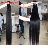 36 38 40 inç Demetleri Kapatma Ile Brezilyalı Düz İnsan Saç Dokuma Uzun Remy Saç Uzantıları 1 3 4 Kapatma Ile 4 Paketler