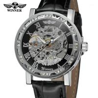 Forsiging Erkek Şık Saatler Şeffaf Kristal Analog İskelet Mekanik El-Rüzgar Bilek İzle Renk Siyah WRG8012M3S1