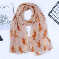 Новый стиль шарф прямых продаж лисицы печати вуали шарф животных дамы горячий шарф