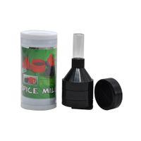 유리 병 및 보관 케이스 분쇄기가있는 플라스틱 깔때기 공장 분쇄기 담배 허브 향신료 크래커 밀 45 mm 분쇄기