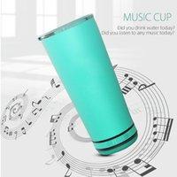 Altavoz Copa al aire libre impermeable portable del altavoz del vidrio de leche taza de cerveza Champagne Música de carga USB con la tapa del vaso de LJJP723