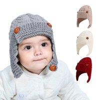 şapka sonbahar kış çocuk yün şapka çocuk güzel kış açık sıcak bebek kulak manşonu şapka CYF4543-2 örme Düğme çocuklar