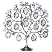 Metall silver träd bilder visa hållare skrivbord bildram prydnad släktträd retro hängande ovala insats fotoram dekor1