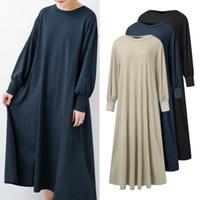 Повседневные платья Zanzea длинные слоеные рукава халат женские женские сплошные круглые шеи Vestidos мода осенние дамы MIDI теленок платье негабаритные 5x