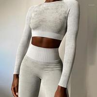 3pcs Seamless Set Sport Set Donne Femmina 2 due pezzi Blue Crop Top Bra leggings Yoga Beat Ftines Suit Workout Outfit Gym Set Vestiti1