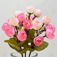 6 Gabel 18 Kopf Camellia Mei 5 Farbe European Style Gao Datei Simulations-Blumen-Dekoration Simulation Pflanze Gefälschte Blume W15F