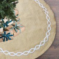 뜨거운 판매 크리스마스 장식 황마 천 122CM 나무 치마 나무 바닥 장식 크리스마스 트리 앞치마 아마존