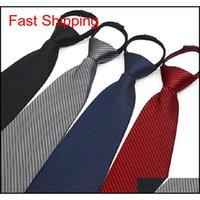 9 см на молнии галстук мужской бизнес галстук Zip полиэстер шеи галстук черный красный синий аскот свадьба служба безопасности мужчины 4S магазин 2 шт. / Лот Pirqh