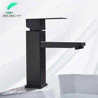 Shbshaimy Spedizione gratuita lavabo lavandino rubinetto nero quadrata rubinetto rubinetto rubinetti bagno caldo miscelatore freddo rubinetto singolo foro1