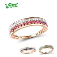 Vistoso 14K Rose Gold Rings Lady hakiki Parlak elmas süslü Yakut Safir Zümrüt nişan Yıldönümü Chic Fine Jewelry 201112 için