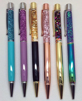 Cadeau Bricolage vide écriture Tube en métal Stylos à bille autoremplisseur flottant Glitter fleurs séchées Cristal stylo à bille Stylos 15 Couleur