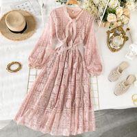 Весна розовое платье для вечеринки женщины высокая талия лук с длинным рукавом сладкое кружевное платье элегантная леди линия длинные платья Vestidos 200929