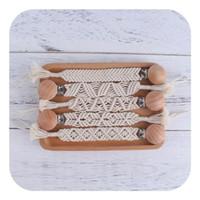 Neue DIY Weave Baby Schnuller Clips Holz Perlen Schnuller Schnuller Inhaber Clip Baby Clip Kette Halter Nippel Beißring Dummy Strapische Kette
