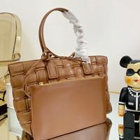 Gewebte Einkaufstasche Große Kapazitätspaket Handtasche Ebene Mode Echtes Leder Offene Innenverschluss Tasche Freies Verschiffen Gelbliche Oberfläche