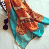 Lesida Frauen Twill Satin Seide Giraffe Vogel Drucken Schal Dame Große quadratische Nackenschals Sjaal Hijab 130 * 130 cm 3146 y201007