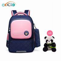 Okkid Kinder Schultaschen für Mädchen Nette Koreanische Stil Kinder Rosa Tasche Orthopädische Schulrucksack Für Jungen Wasserdichte Bücherbag Geschenk T200114