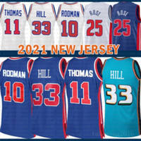 2021 New Grant 33 Hill Basketball Jersey Dennis 10 Rodman Mens Isiah 11 Thomas Mesh Retro Derrick 25 Rose Cheap Black