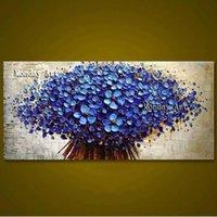 큰 100 % 수제 두꺼운 질감 된 그림 handpainted 팔레트 나이프 꽃 유화 캔버스 벽 아트 거실 룸 삽화 Y200102