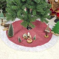 크리스마스 장식 트리 스커트 자연 삼 베 황마 일반 손으로 수 놓은 흰색 장식 소박한 크리스마스 휴일 소모품