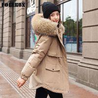Foren 겨울 코트 여성 양털 코 튼 패딩 모피 후드 가운 슬림 허리 Drawstring 두꺼운 긴 재킷 솔리드 파크 스 Mujer 2020