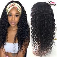 브라질 물 파도 머리띠 100 % 인간의 머리 가발 브라질 인간의 버진 머리 기계 여성을위한 가발을 만든