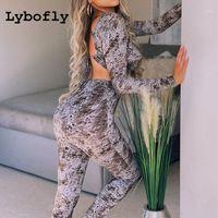 Lybofly Set da donna Scava fuori Sexy 2 pezzi Set Set Donne Lace Up Crop Top Long Pant Leggings Manica Lunga Loungewear Primavera Estate1