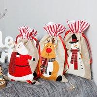 Портативный 18 * 30см Рождественский подарок сумки Elk Санта снеговика Прекрасный мультфильм мешки Drawstring Cute Kids Подарочные конфеты сумки для вечеринок VT1764