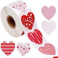 선물 포장 500pcs / 롤 심장 모양의 발렌타인 스티커 생일 파티 웨딩 장식 레이블 스티커 패키지 상자 컬렉션 레이블 # 40
